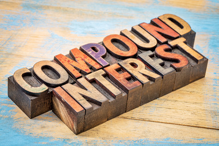 compound: compound interest banner - text in vintage letterpress wood type against grunge wood Stock Photo