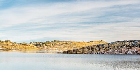 horsetooth reservoir: panorama of Horsetooth Reservoir, winter afternoon, Fort Collins, Colorado