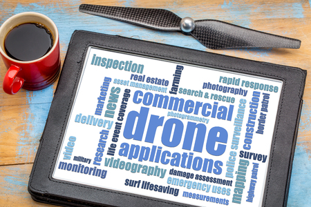 digital asset management: commercial drone applications word cloud on a digital tablet with a cup of coffee and drone propeller