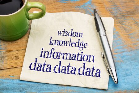 data, information, knowledge and wisdom - knowledge pyramid concept on a napkin with a cup of coffee