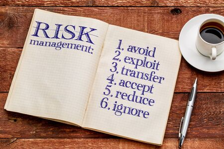 explocion: las estrategias de gestión de riesgos (evitar, explotar, transferir, aceptar, reducir, hacer caso omiso) - escritura a mano en un viejo cuaderno con una taza de café Foto de archivo