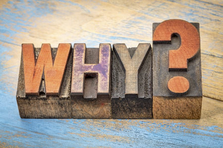 gritty: why question in vintage letterpress wood type stained by color inks Stock Photo