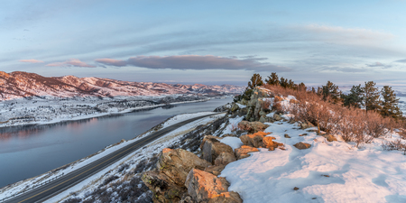 collins: panorama of winter sunrise over Horsetooth Reservoir near Fort Collins in northern Colorado Stock Photo