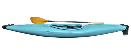 used old style blue plastic whitewater kayak  with a paddle, isolated on white Фото со стока