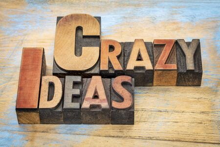 letterpress words: crazy ideas words in vintage letterpress wood type printing blocks stained by color inks