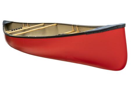 rode tandem kano met houten stoelen die op wit met een het knippen weg Stockfoto