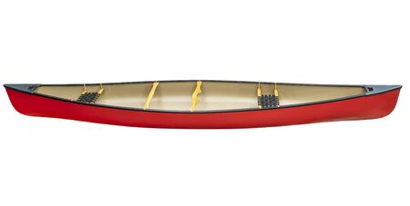 canoeing: red tandem canoe with wood seats isolated on white with a clipping path, side view