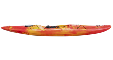 whitewater: side view of crossover kayak (whitewater and river running kayak) isolated with a clipping path
