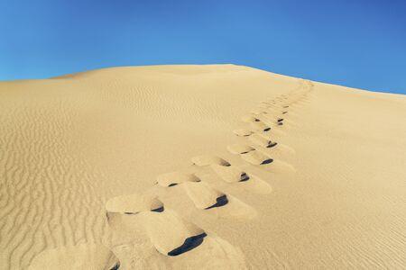 desert footprint: man footprints on a sand dune and blue sky in Great Sand Dunes National Park, Colorado