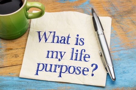 What is my life purpose question - handwriting on a napkin with a cup of coffee Stock Photo