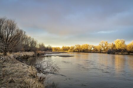 South Platte River in  eastern Colorado, sunset scenery in late winter or early spring