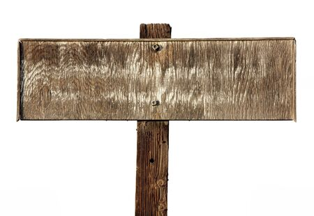 old sign: old weathered rectangular wooden sign  isolated on white