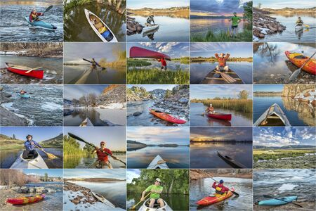 paddler: kayak and canoe picture collection - paddling on lakes and rivers in Colorado featuring the same male paddler