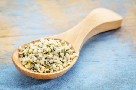 hemp hemp seed: hemp seed hearts on a wooden spoon against blue painted grunge wood