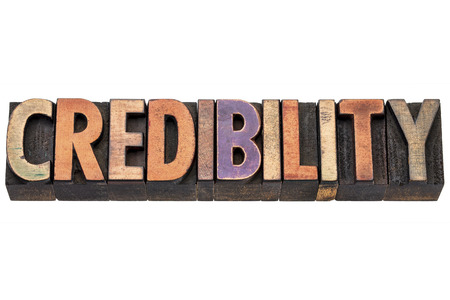 believable: credibility word  - isolated text in vintage letterpress  wood type printing blocks Stock Photo