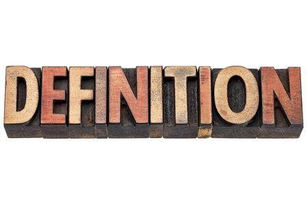 definicion: definición de la palabra en bloques de impresión tipografía tipo madera de tipografía manchado por las tintas de color Foto de archivo
