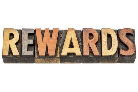 wood type: rewards  - isolated word in vintage letterpress wood type