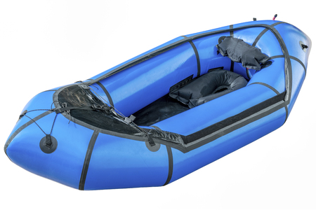 a blue packraft (one-person light raft used for expedition or adventure racing) isolated on white with a clipping path 版權商用圖片