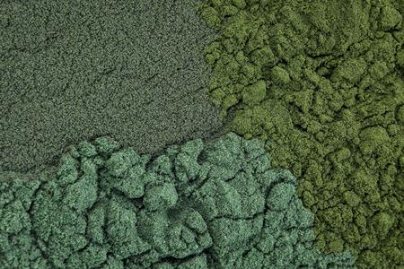 spirulina: background of chlorella, spirulina and blue-green  sea algae supplement powder