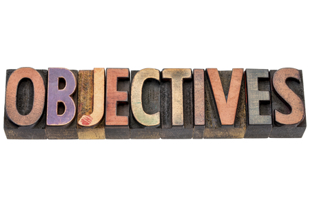 letterpress type: objectives - isolated word in vintage letterpress  wood type printing blocks Stock Photo