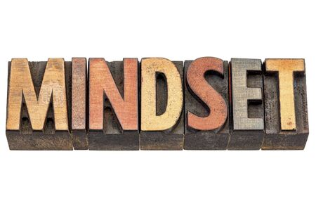 mindset: mindset  -  isolated text in vintage letterpress wood type printing blocks
