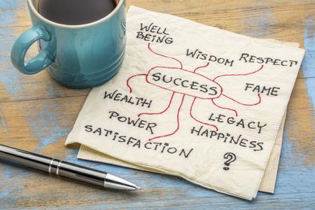성공 재료, 개념 또는 mindmap 냅킨에 커피 한잔과 함께 스톡 콘텐츠