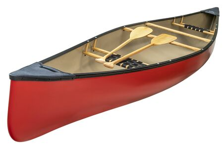 red canoe with a pair of wooden paddles,  isolated on white