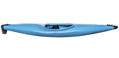 used old style blue plastic whitewater kayak  with a skeg (fin) isolated on white Фото со стока