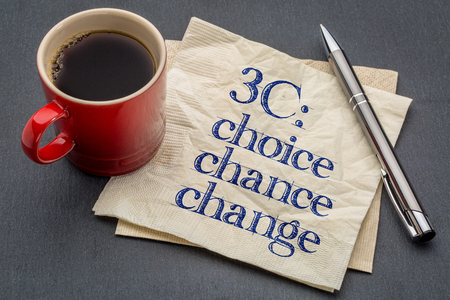 3C concept - choice, chance and change- handwriting on a napkin with cup of coffee against gray slate stone background Banco de Imagens