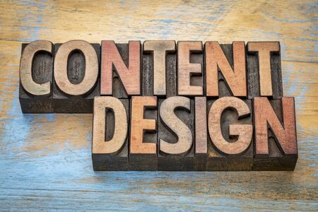 content design  - word abstract in vintage letterpress wood type printing blocks Banco de Imagens