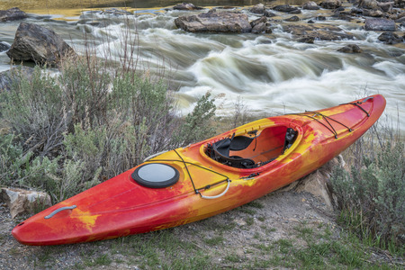 whitewater: whitewater kayak and river rapid - Rodeo Rapid on the upper Colorado River at Burns, Colorado, USA