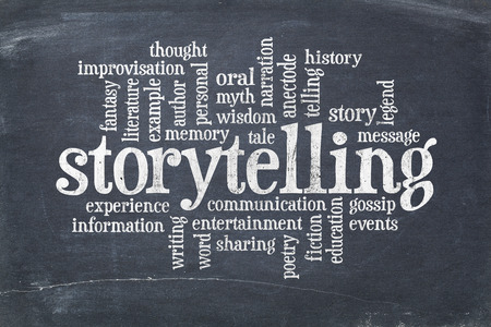 storytelling word cloud on an old slate blackboard with scratches and white chalk smudges Stockfoto