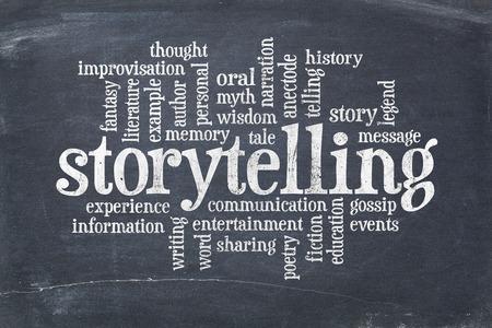 Storytelling Wortwolke auf einem alten Schiefertafel Tafel mit Kratzern und weißer Kreide Flecken Standard-Bild - 56583863