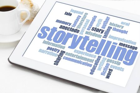 anecdote: storytelling word cloud on a digital tablet with a cup of espresso coffee