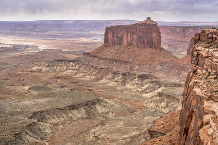 canyonlands national park: cloudy day in Canyonlands National Park with a view of Green RIver valley Stock Photo
