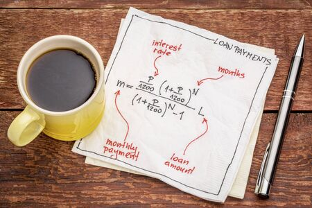 white interest rate: loan payment equation sketched on a napkin with a cup of espresso coffee