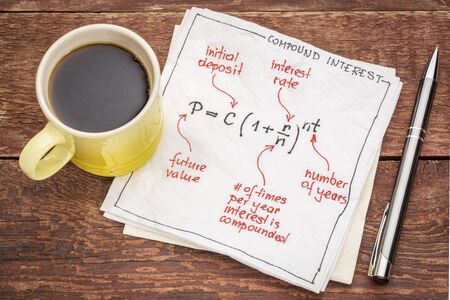 compound: compound interest equation on a napkin with a cup of coffee against rustic wood table Stock Photo