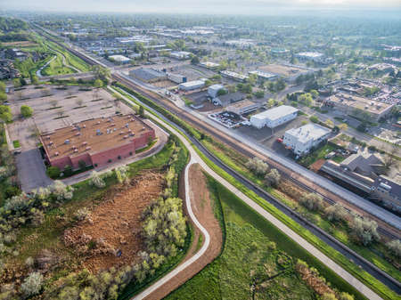 fort collins: aerial view of bike trails and green areas in Fort Collins, Colorado, spring scenery
