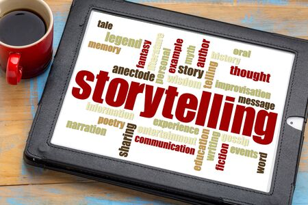anecdote: storytelling word cloud on a digital tablet with a cup of coffee