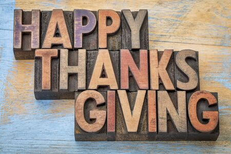woodtype: Happy Thanksgiving - a greeting card or banner in vintage letterpress wood type blocks