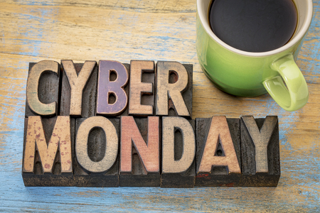 wood type: Cyber Monday - internet holiday shopping - text in vintage letterpress wood type with a cup of coffee