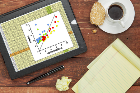 scatter: scatter graph of model and observation data with a worksheet  on a digital tablet - science research and analysis concept
