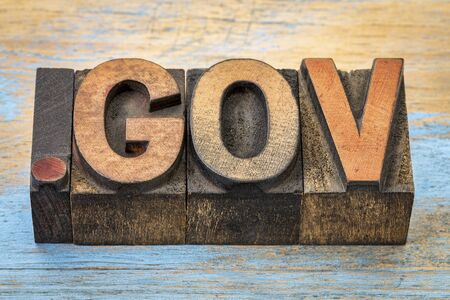 gov: dot gov - government internet domain - text in vintage letterpress wood type blocks stained by color inks Stock Photo