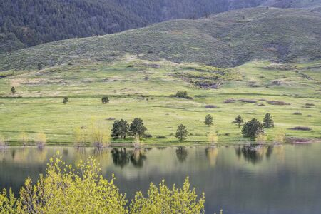 horsetooth reservoir: Horsetooth Reservoir and Lory State Park at COlorado foothills, springtime scenery with fresh green Stock Photo