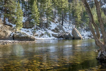 cache la poudre river: sunny day on the Cache la Poudre River above Fort Collins, Colorado -  typical winter low flow at Picnic Rock