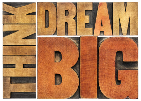 dreams: think and dream big motivational phrase -  isolated word abstract - letterpress wood type printing blocks Stock Photo