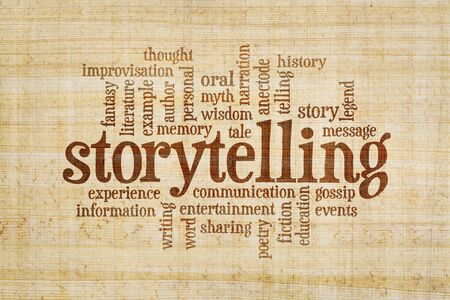 narration: story and storytelling word cloud on a hand made papyrus paper