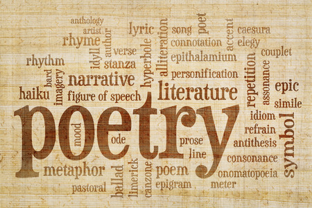 anecdote: poetry word cloud on papyrus  paper with yellow and brown fiber pattern