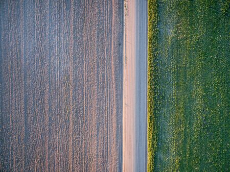 dirt road: dirt road, plowed field and meadow - aerial view - Pawnee National Grassland near Grover Colorado