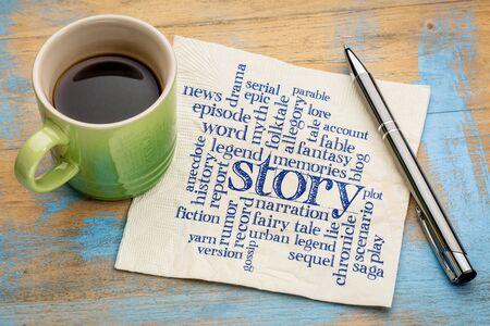 verhaal, legende en mythe word cloud - handschrift op een servet met een kopje koffie